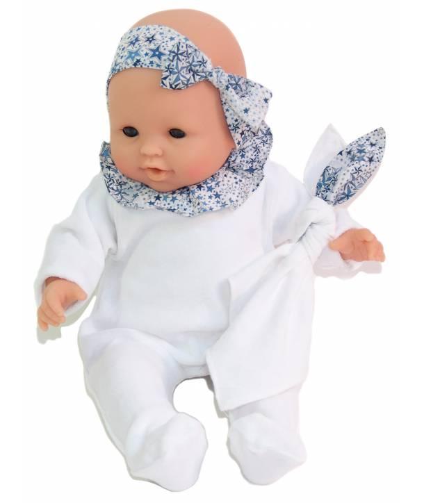 Pyjama Philémon Blanc / Adeladja bleu 36 cm